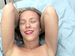 Blonde wife Penelope Sky grabs the thick pocket rocket and inserts it inside her sleaze vulva