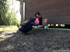 A Japanese babe is craving for cock, so any place will suit. See Hibiki getting pounded outdoor, behind a house. Her stockings and high heeled boots are a huge turn on. Her pussy's eaten and her ass licked with lust. She seems eager to suck dick and gets on knees. Most of all, the slut wants to be fucked from behind.