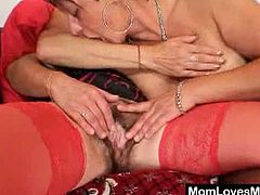 These two grannies kiss and undress before they touch each others hairy snatches. They bother to dress sexy for this encounter with each other and plastic cocks.