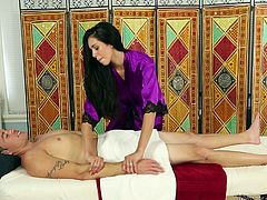 He goes into the massage parlor in the hopes of getting a nice massage, but he is going to get something even better. The lovely girl rubs him down and relaxes his muscles, before giving him a nice, wet blowjob.