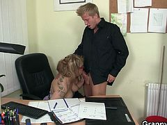 She is fond of the newbie in the office and cannot control now her urges so she called the guy and locked the door and started undressing themselves for one quick fuck.