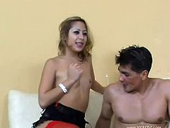 Watch this sexy Asian babe named as, Kat in this hot double fuck video.See how this sexy babe getting her tight Asian cunt and butt hole fucked hard by these two guys in threesome fun.