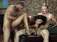 Lou Charmelle gets facial cumshot from two guys after fucking on pool table
