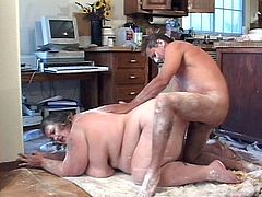 Amazing pussy drilling in the kitchen as this fat brunette beach patrol gets down and super nasty with hot muscled hunk.