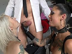 A blonde babe with light blonde dyed hair and a tattooed brunette feel at ease, in the presence of a horny cock, making all his dirty wishes come to reality. Click to see slutty Kleio, sucking a lusty cock and Bonnie's sexy feet in the same time. The kinky brunette loves being banged from behind. Enjoy!