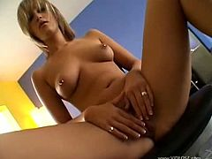 This spoiled blonde is the boss when it comes to sex.See how this busty babe teases you with her shaved pussy before getting busy with two big hard cocks for sucking them deeply.