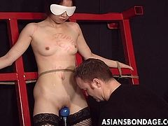 If you are a declared fan of Asian bondage, welcome to the club! A slim slutty beauty has been terribly bounded. Wanna watch her small nipples, getting awfully tortured? The dirty game involves also playing with sex toys, like an electric vibrator. Click to get the whole picture and enjoy!