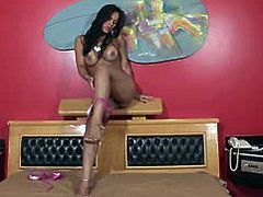 Hot sexy brunette shemale play solo