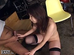 Supreme pussy hammering as this busty Japanese momma in stockings rides sweet boner for nasty hungry cunt corruption.