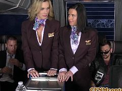 Tanya Tate and Veronica Avluv are your horny stewardess and they are having a great foursome mile high club together with these naked passengers of the airplane.