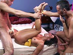 This naughty lady loves to play with a hot and handsome stud's huge cock for a hardcore doggystyle fuck in orgasm.