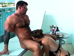 Nice girl Fey's weakness are body builders and she certainly sees Zeb Atlas as one of them. They are in the balcony chilling out leading them kissing and making out and fucking.