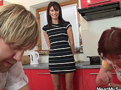 Meet My Sweet brings you a hell of a free porn video where you can see how this mature couple seduce a naughty teen temptress while assuming very interesting positions.