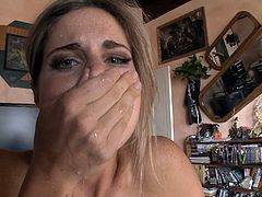 This horny solo model gets her shaved pussy played with sex toy and dildo insertions for a hardcore gaping masturbation.