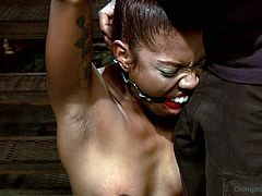 Ebony teen is curious of BDSM since reading that famous book and she enrolled herself to this master and her first initiation is getting her hands tied up and whipped her body hard.