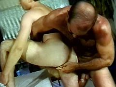 Marvelous gay with hot ass giving his guy a superb blowjob before getting feasted hardcore doggystyle and drilled using toys