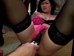 Busty Asian milf with big tits gets gang banged hardcore