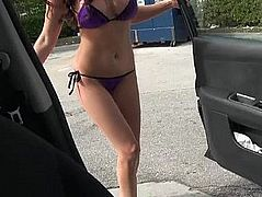 Busty GF pumping gas and sucking cock in a car