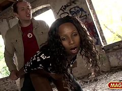 Nelly gets her beautiful black ass fucked hard in an old, abandoned building after flashing her perky tits in a bus stop.