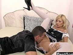 Best Gonzo brings you a hell of a free porn video where you can see how this naughty blonde maid gets assfucked very hard and deep into massively intense anal orgasm.
