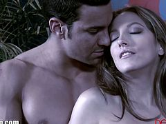 After kissing her lover sensually, Jenna Haze goes straight to sucking cock. His dick is large, so she can't wait to take it from behind. She also tastes some jizz.