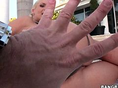 Phoenix Marie poses in the backyard, showing off her nice bubble butt and goes on the porch to take her share of cock for the day. A guy nails her intensively.