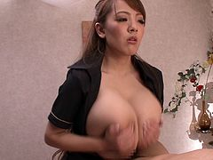 Wow, look at the size of this japanese babe's big tits. They are absolutely massive. When she puts her boobs on her man's face, he is smothered by the sheer size of her huge jugs. The hot babe wraps her huge breasts around his cock and gives him a titjob.