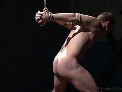 Will this gay slave be able, to handle 30 minutes of torture in his master sex dungeon. The slave has his throat stuffed with his master's big cock. Since the slave is locked in the basement and tied up with rope, he has no choice, but to suck cock.