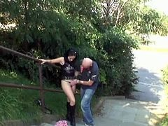 Grandpa got a hold of this kinky lustful teen as she prefers fucking anywhere and he invited her in the park to find a place and starts their fucking session over there.