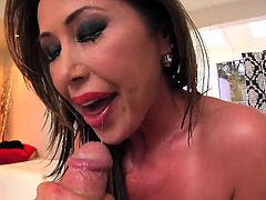 Kianna Dior pussy gets a hard fucking before getting a load of cum on her oiled up tits