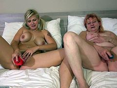 A couple of lesbians share their intimate moments with the camera. The old lady with saggy tits sucks her blonde companion's nipples and kisses her with passion. They both lay in bed, with legs widely spread and each, has got her sex toy. Click to watch Bernadett and the tattooed slut, using dildos for pleasure.