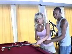 Black guy fucking a sexy blonde chick in pigtails hardcore on pool table