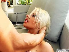 Ass Traffic brings you a hell of a free porn video where you can see how this hot blonde in fishnets gets assfucked very hard into a massively intense anal orgasm.