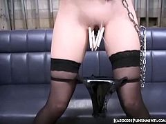 Watch this Oriental sex slave babe in this hot hardcore punishment scene.See how her master plays with her hot body after tying her up in ropes.He pegs her tight cunt lips and spanks her ass hard.