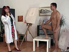 Granny taking the opportunity with her naked models and she isn't a real painter as she always take advantage of this young naked models sucking their cock and having sex.