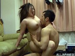 Chubby Asian wife with big tits gets fucked by hubby until orgasm