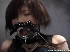 Hardcore Punishments brings you a hell of a free porn video where you can see how this Japanese brunette endures a wild BDSM session while assuming naughty positions.