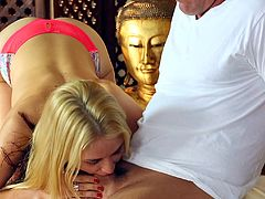 Cuddly blonde babe with big tits gets oiled up then fucked hardcore on a massage table