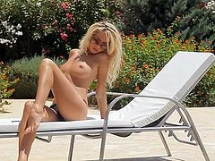 Topless underwear blonde Dream July by A pool