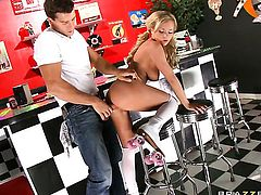 Ramon uses his erect meat stick to make Bree Olson happy