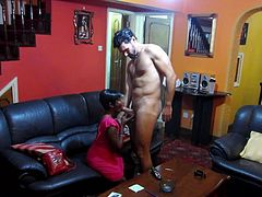 Antonio has just come home with his cute girlfriend and they, want to have sex with each other after a hot date. They kiss and have some foreplay, and before long she leans in, and suck on his rock hard cock.