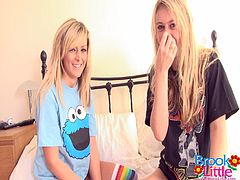 Beautiful blonde Brooke and her amazing GF are playing lesbian games in a bedroom. They strip and show their natural jugs to each other and please each other with petting.