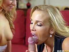 Sweet blonde Mia Malkova with natural boobs is a cutie with a lack of blow job experience. Her buxom stepmom teaches her how to suck! Topless blondes suck boys hard dick together! MILF loves it so much!