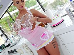 Short-haired Joslyn become very horny, when she rubbed the cake on herself. She firstly rubbed the cream on her big boobs, then on her pussy and on her ass, too. In between Sean come to the kitchen and when he saw her, his dick became very hard. He came closer and longing wild sex, takes precedence over him.