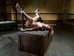 Dungeon Sex brings you very intense free porn video where you can see how this redhead slave gets bound, banged and dildoed hard while assuming hot positions.