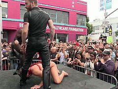 These boys feel good on the stage. Being in the middle of the attention makes them horny as hell and that crowd demands a hot show. They kneel, fuck and feel the magic as an executor humiliates them in front of the public. Damn this is hot so don't miss the rest of it!