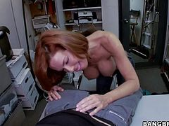 Hot bodied MILF Veronica Avluv gets her amazing big boobs rubbed by curious guy in the backroom before she gets down on her knees to suck the cum out of his fat dick. She sucks like a pro!