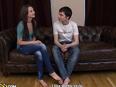 Brunette teen got her jeans wet of champagne accidentally and goes at home with two guys. She knew what was coming as she want to fuck these two for her first threesome.