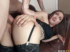 Elegant slut Gabriella Paltrova in nylons and platform shoes is a natural born slut that takes guys fat dick in her meaty pussy and then in her tight asshole. Watch her enjoy some ass fucking!