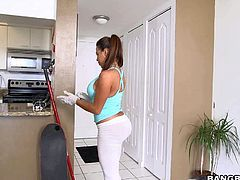 Curvy sexy Julianna Vega is a milf maid that is always ready to earn some money. Shameless brunette with bubble butt strips down to her tight fit blue panties for cash. Her big bottom will get you hot!